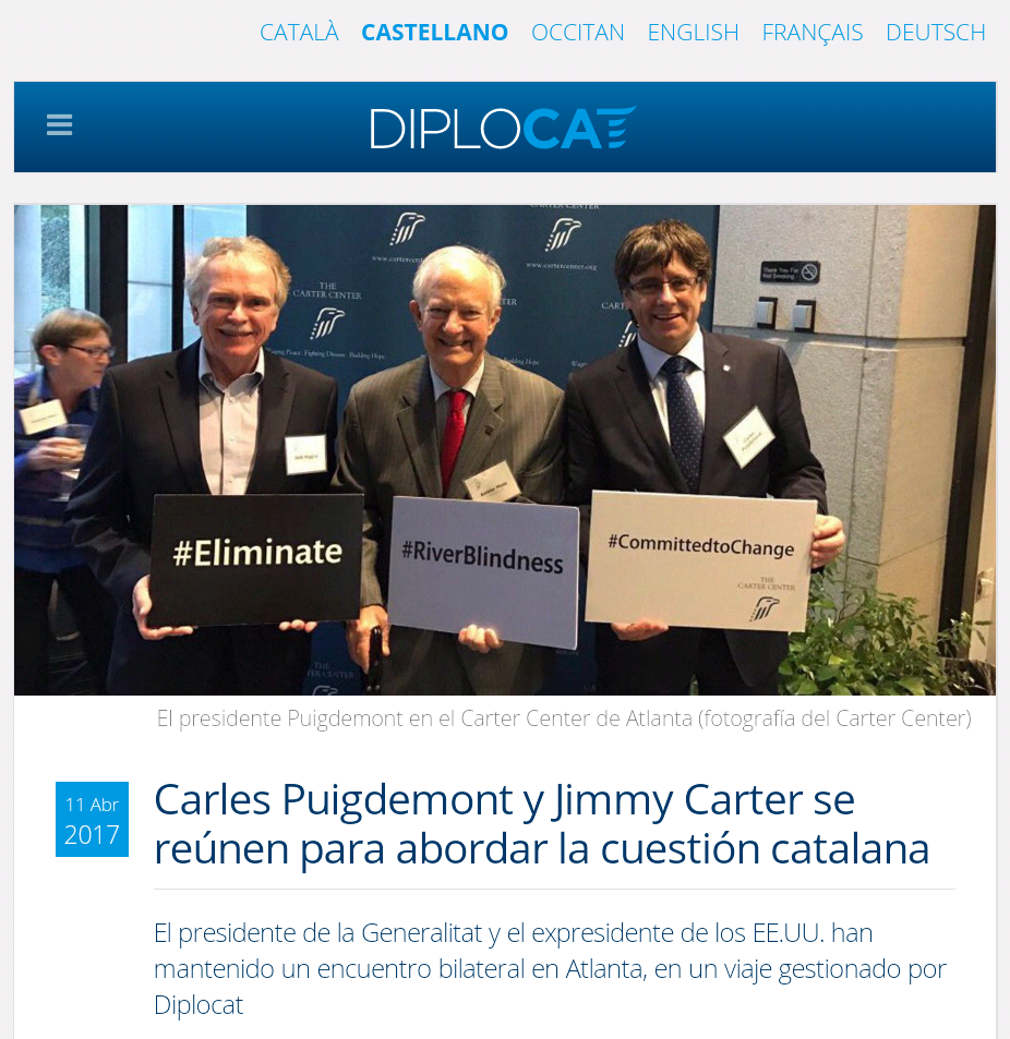 Puigdemont y Jimmy Carter se reunen