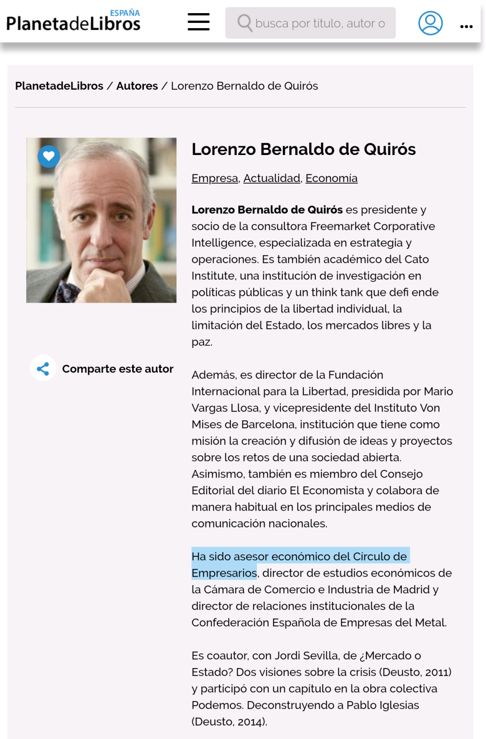 67eb7474dbf Las preferencias de Bernaldo de Quirós también aparecen reflejadas en las  recomendaciones de gigantes financieros como JP Morgan